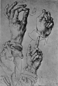 2-M140-H1-1490-1 A.Duerer, Studienblatt mit drei Haenden Duerer, Albrecht 1471-1528. 'Studienblatt mit drei Haenden', um 1490/94. Feder, 270 x 180 mm. Wien, Graphische Sammlung Albertina. E: A.Duerer, Study of Three Hands / c.1490 Duerer, Albrecht 1471-1528. 'Study of three hands', c.1490/94. Pen and ink, 270 x 180 mm. Vienna, Graphische Sammlung Albertina.