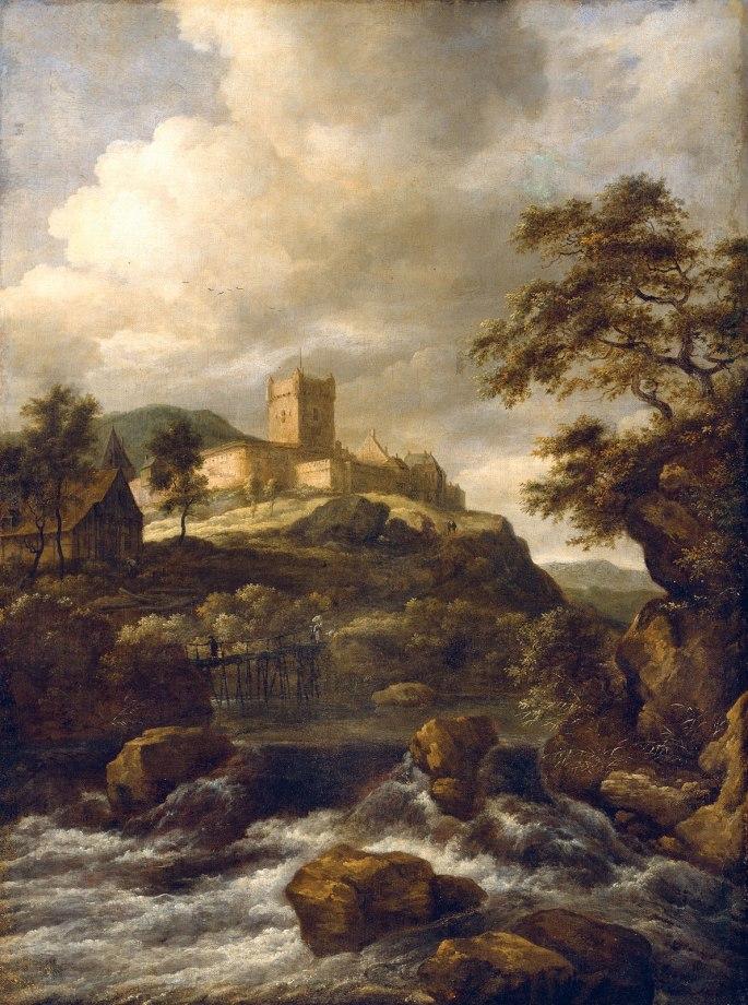 Waterfall-Travellers-canvas-Bentheim-Castle-Beyond-Footbridge